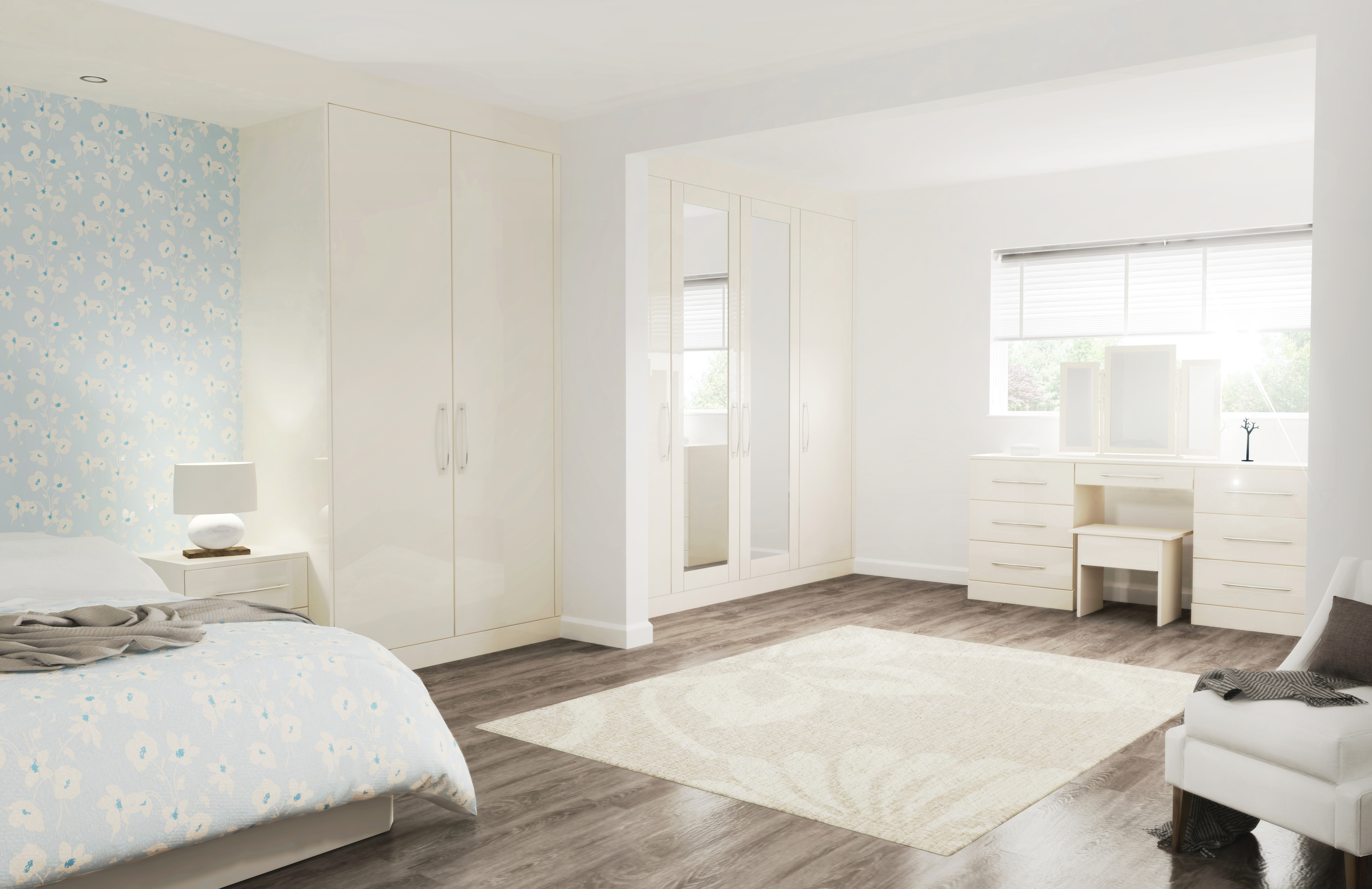 Glacier High Gloss Jasmine Bedroom Furniture Interior Designs North East