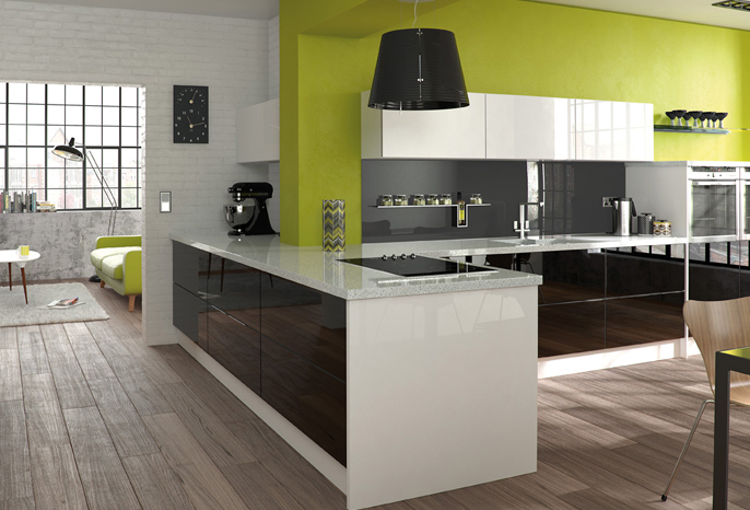 Glacier Black and White Gloss Kitchen  Interior Designs North East
