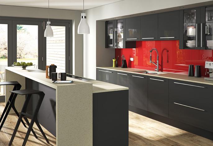 Glacier High Gloss Graphite Kitchen Interior Designs North East