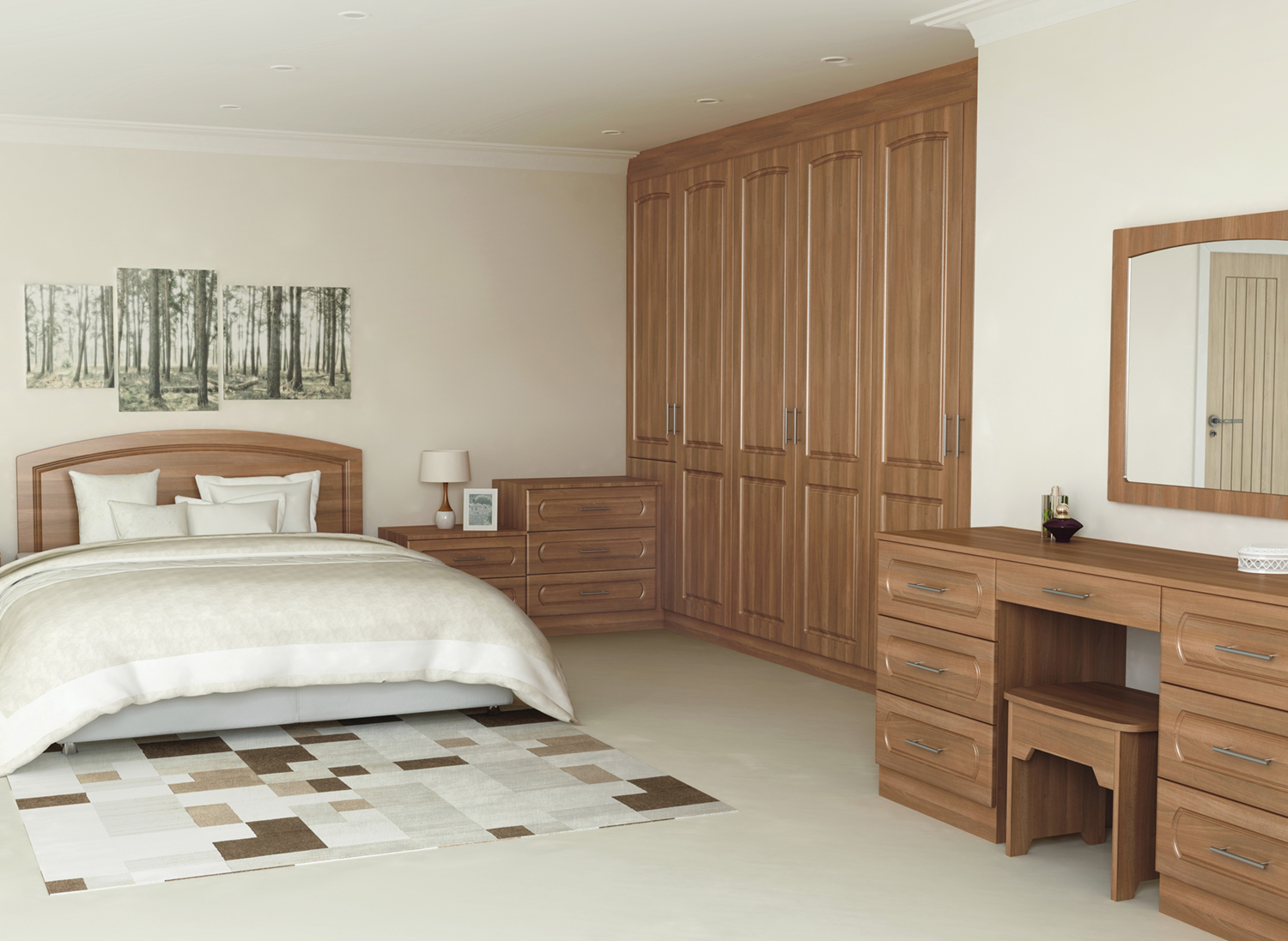 Walnut york fitted bedroom furniture interior designs for Bedroom designs n colours