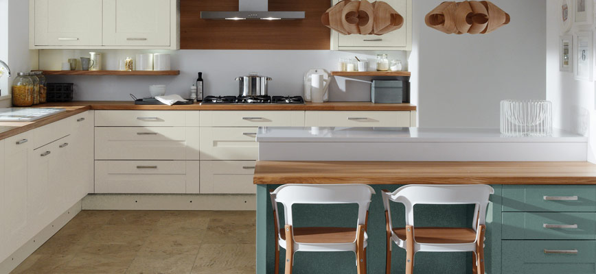 Milbourne Almond And Morris Blue Painted Kitchen Interior Designs North East