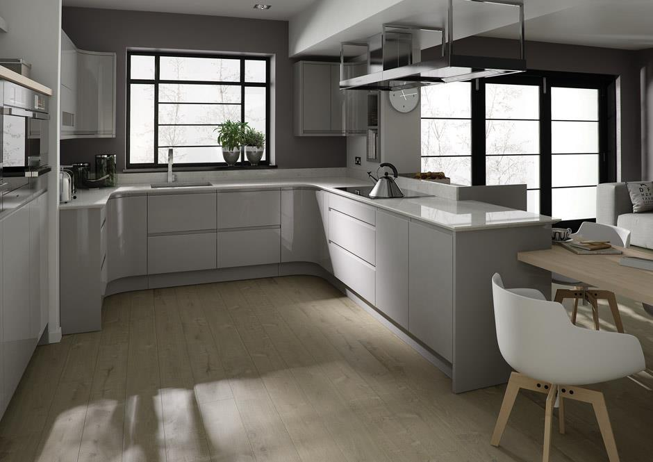 Remo Handless Dove Grey Gloss Kitchen Interior Designs North East