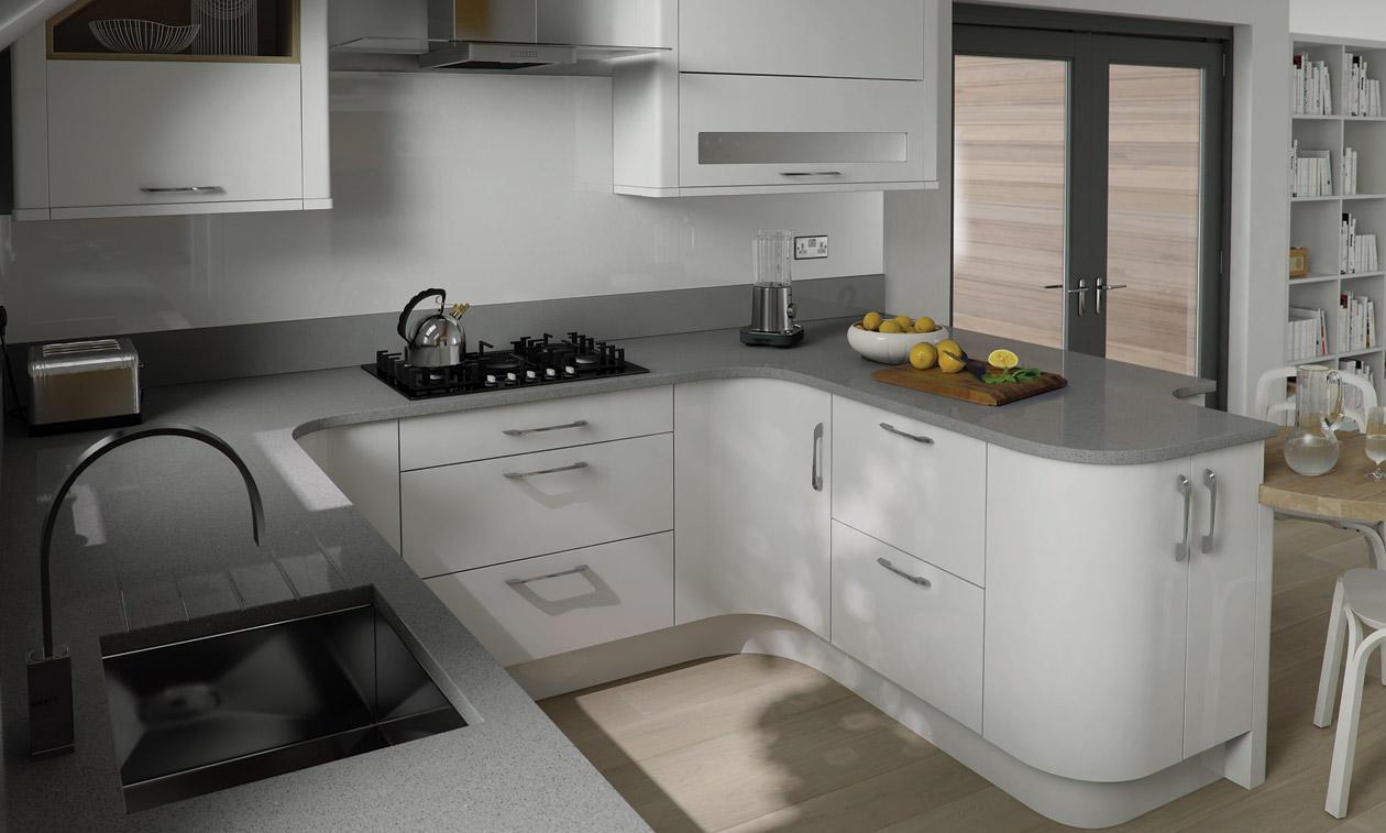 Porter white hi gloss kitchen interior designs north east for Kitchen designs gloss
