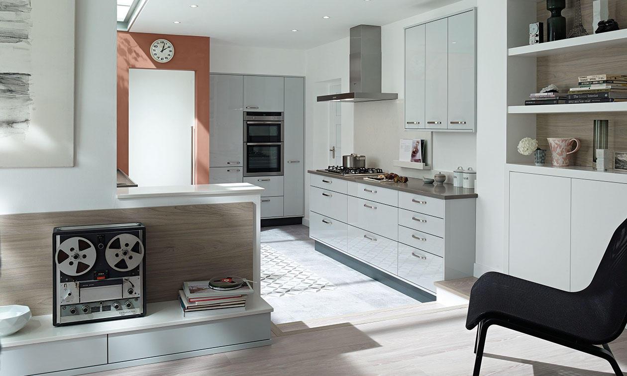 Porter Dove Grey Gloss Kitchen Interior Designs North East - Dove grey kitchen units