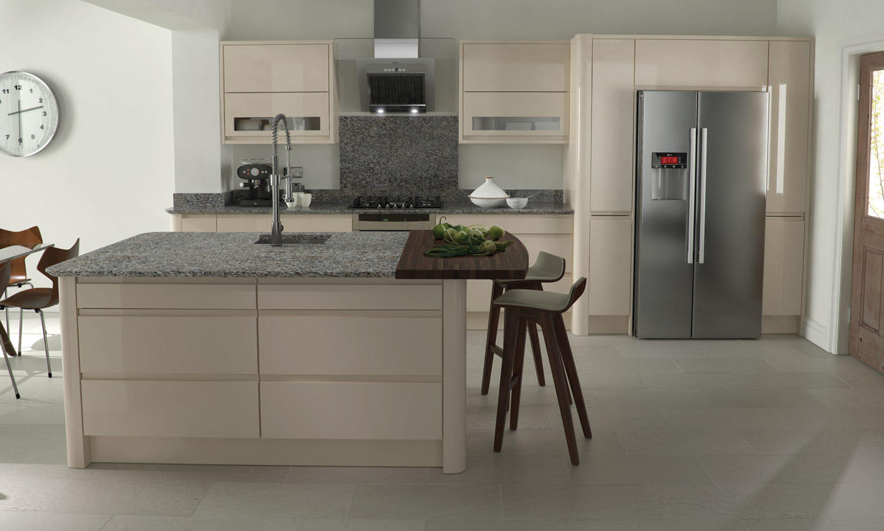 Remo handless beige gloss kitchen interior designs north for Beige kitchen designs