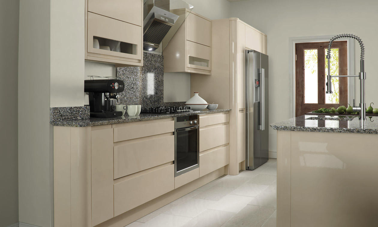 Remo Handless Beige Gloss Kitchen Interior Designs North
