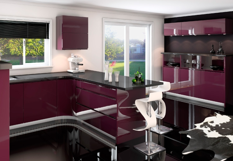 Jazi aubergine gloss handless kitchen interior designs for Interior designs ne ltd
