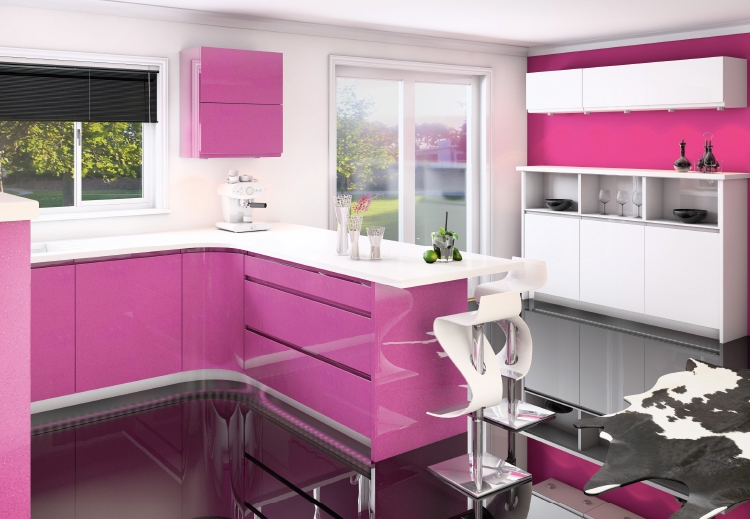 Jazi Pink Sparkle Gloss Paint To Order Handless Kitchen Interior Designs North East